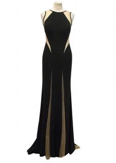 Jovani Black Ball Gown with Mesh Inserts