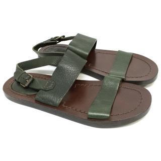 Burberry green strap sandals