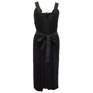 Alberta Ferretti Black Dress with Satin Detail