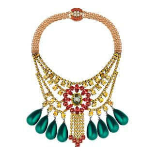 MAWI Crystal Green Teardrop Necklace