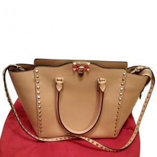 Valentino Rockstud Tote Handbag Beige / Nude Current Season