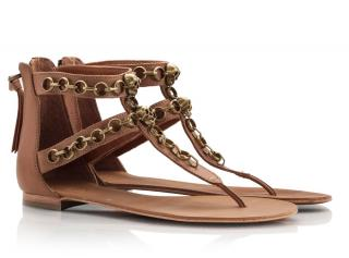 ASH Tan Leather Skull & Chain Thong Flat Sandals