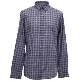 Bottega Veneta Purple and white checked shirt