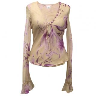 Jerome L'Huillier Sheer Nude Blouse With Pink Floral Print