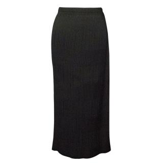 Issey Miyake Black Pleated Midi Skirt