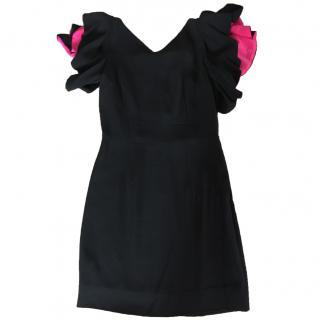 D.Exterior Black Spanish Ruffle Short Sleeve Dress