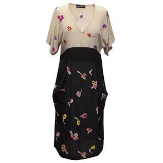 Sonia Rykiel floral print nude, black and navy dress