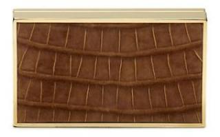 Victoria Beckham Tobacco Alligator/Gold Box Clutch