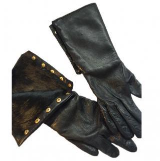 Diane von Furstenberg Leather and fur gloves