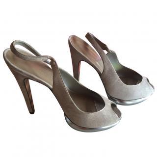 Georgina Goodman Stone Suede Slingback Sandals