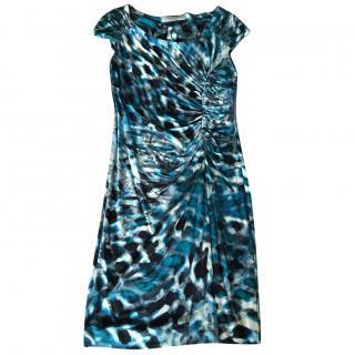 D. Exterior Blue Marble Effect Jersey Dress