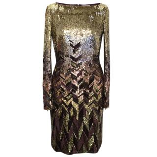 Matthew Williamson Gold and Plum Sequinned Dress