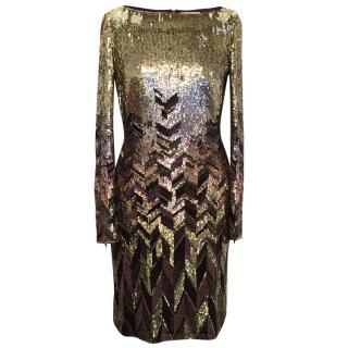 Matthew Williamson Gold and Plum Sequinned Dress
