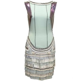 Matthew Williamson Blue Dress with Fringe Bottom