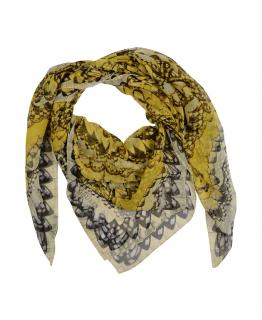 Alexander McQueen Yellow Print Silk  Large Scarf