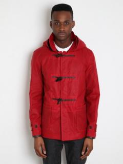 YMC x Gloverall, mens waxed short duffel rain jacket