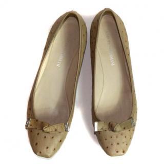 Emporio Armani Beige Leather Ballet Flats