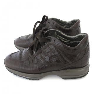 Hogan interactive brown croco effect leather sneakers