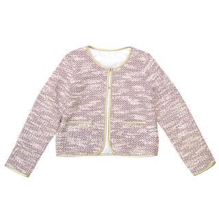 Billie blush pink tweed jacket with gold trim