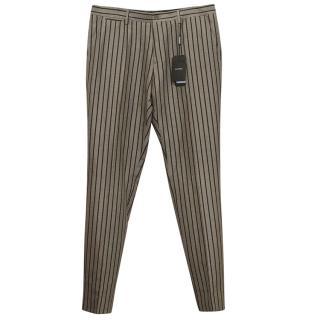 Dolce & Gabbana Beige Striped Linen Trousers