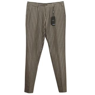 Dolce & Gabbana Beige Striped Linen Trousers