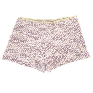 Billie Blush Pink Tweed Shorts With Gold Trim