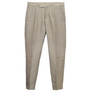 Bottega Veneta Beige Linen Print Trousers