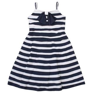 Kate Mack Stripy Dress With Navy Bow