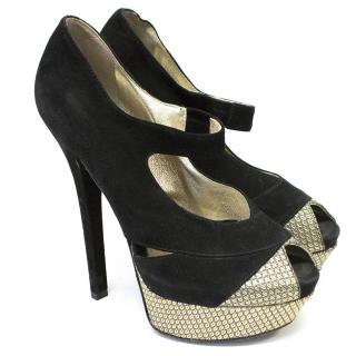 Fendi Black Suede Peep Toe Pumps