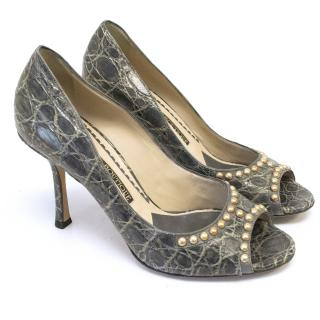 Jimmy Choo grey leather peep toe pumps with gold studs