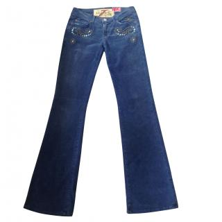 7 FOR ALL MANKIND blue needlecords stud detail slim fit bootcut