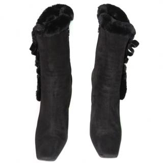 Sergio Rossi Suede Fur Boots