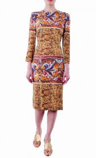 DOLCE & GABBANA RUNWAY Mosaic Print Sheath Dress