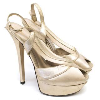 Fendi Silver and Cream Open Toe Pumps