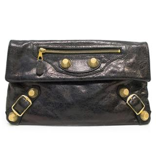 Balenciaga Black Leather Envelope Clutch