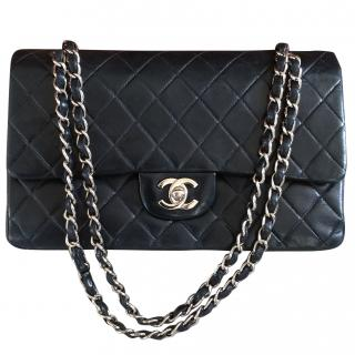 d3f0069879 CHANEL Double Flap Navy Blue Lambskin   Silver Bag