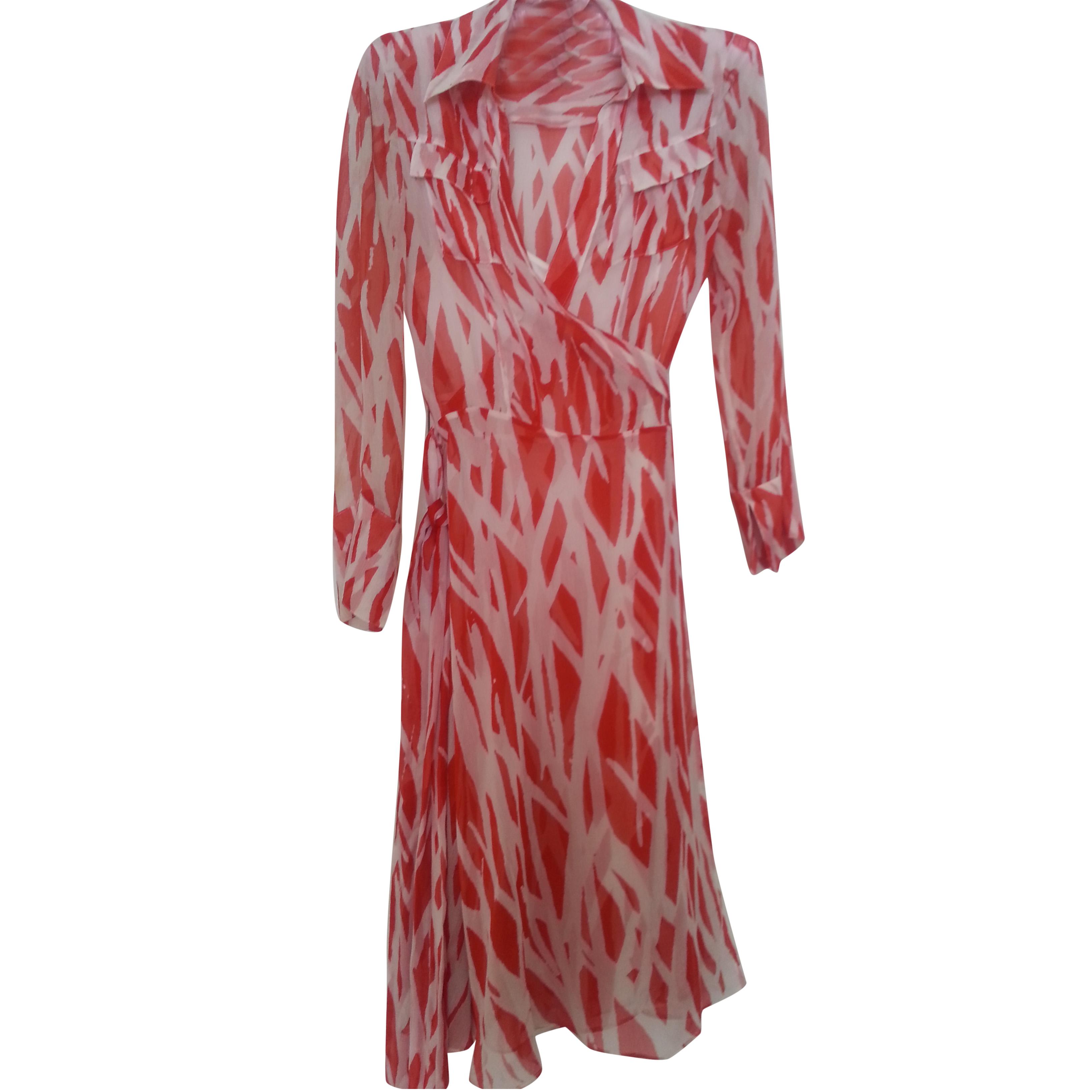 DVF Silk chiffon red/white wrap shirt dress