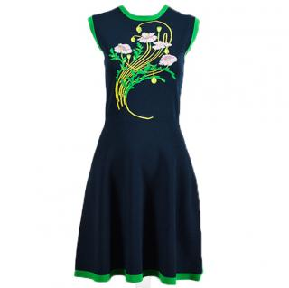 CHRISTOPHER KANE Floral Fit and Flare Knit Dress