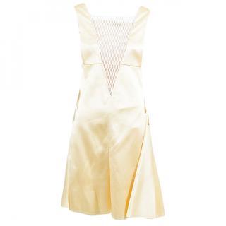 CREAM CELINE WHITE SLEEVELESS EYELET INSET DRESS