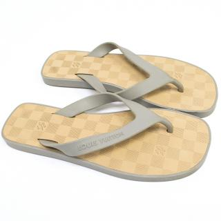 Louis Vuitton Grey and Beige Flip Flops