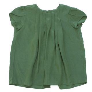 Green Silk Short Sleeved Pleat Dress