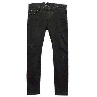 Diesel Black Jeans with Distressed Detail
