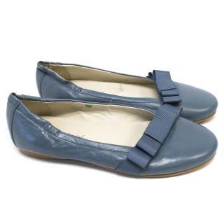 Marie Chantel Blue Ballerina Flats