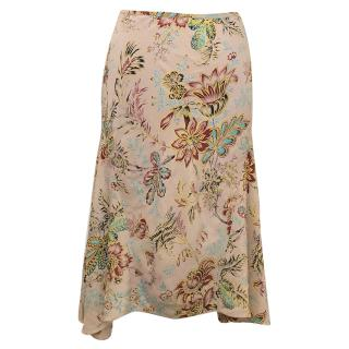 Megan Park Dusty Pink Floral Silk Skirt with Sequin Detail