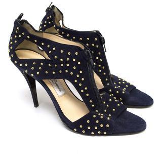 Bionda Castana Gold Studded Navy Suede Sandals