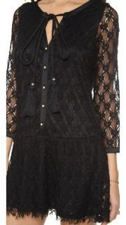 Misa/T-Bags Los Angeles Black Crochet Mini Dress