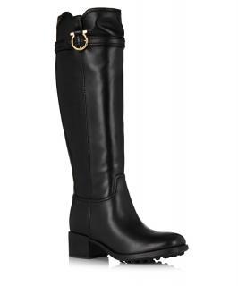 Salvatore Ferragamo black leather knee high round toe boots