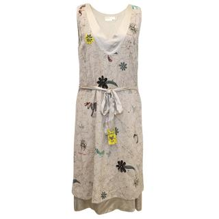 Rutzou Sand Wool and Silk Dress with Embellishments