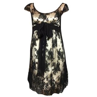 David Fielden London black lace dress silk bow