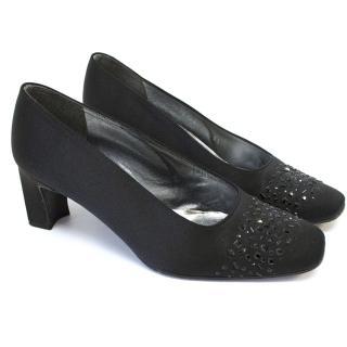Stuart Weitzman Black Embellished Heels